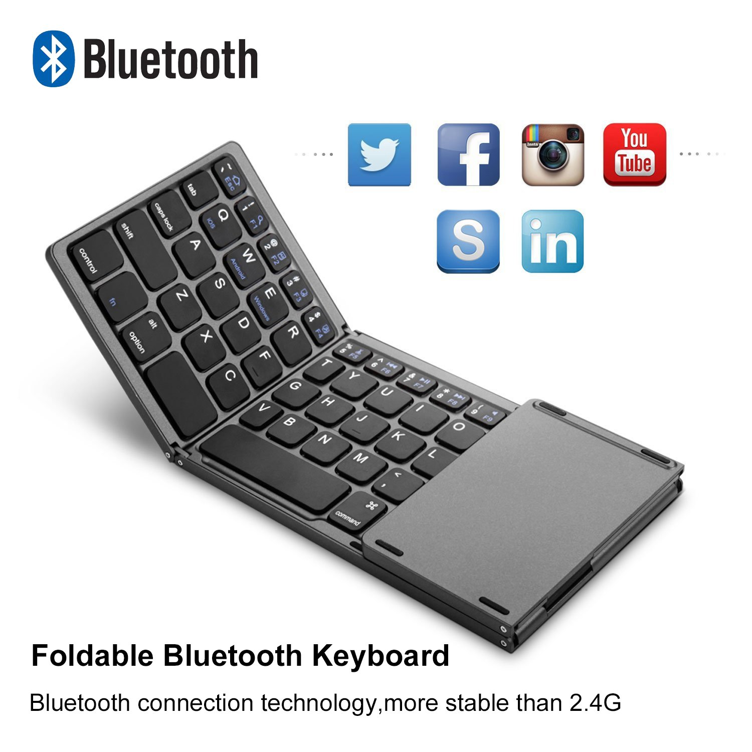 AVATTO MT03 Wireless Foldable Keyboard Bluetooth with Touchpad , USB  Rechargeable , Portable for Tablet , Pad , Phone , Smart TV , Android TV  Box ,