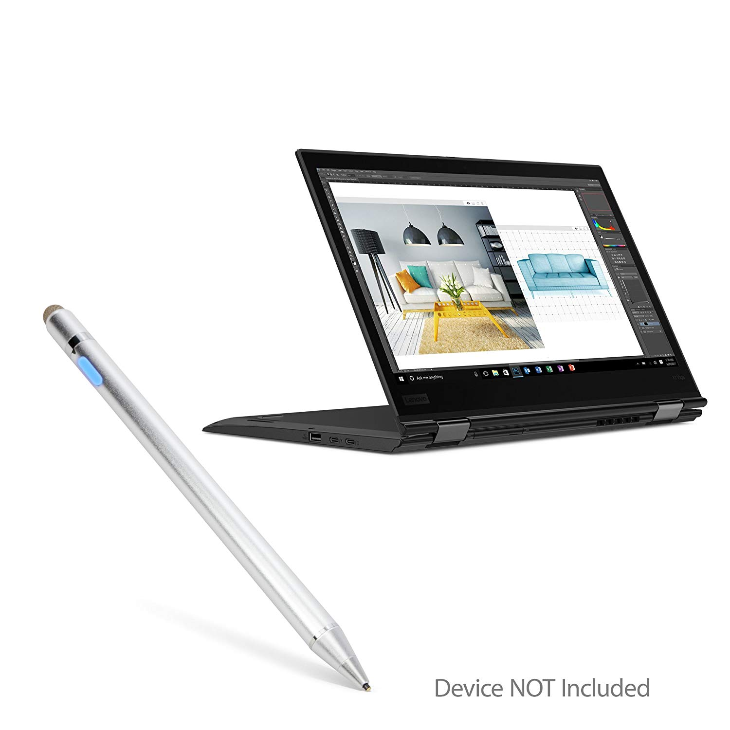 Broonel Grey Fine Point Digital Active Stylus Pen Compatible with The Lenovo ThinkPad X1 Yoga Gen 5 14