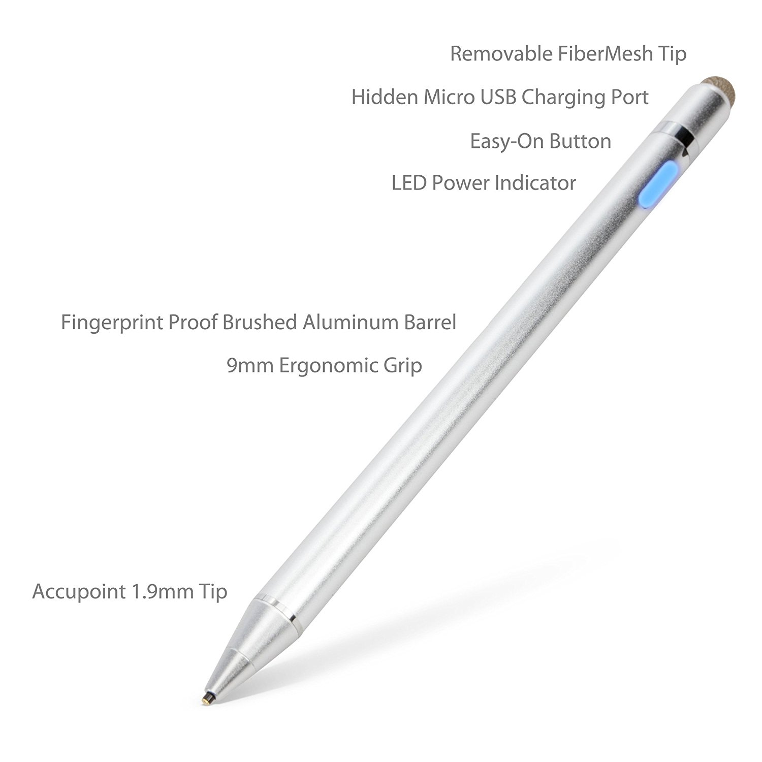 Broonel Silver Mini Fine Point Digital Active Stylus Pen Compatible with The Lenovo TAB 4 8