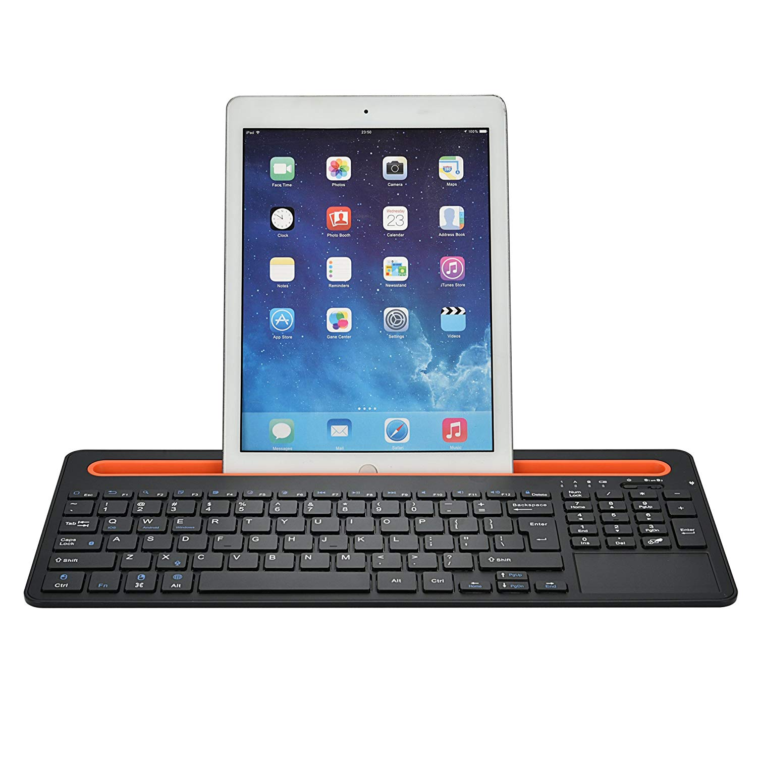 Bluetooth Keyboard With Built In Multi Touch Touchpad Mcsaite Full Size Keyboard Rechargeable Battery For Windows And Androids Tablet Galaxy Tabs Smartphones Black